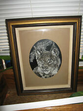 Vintage Bobcat Drawing By Artist Framed and Matted Pencil, Graphite, 18 x 15