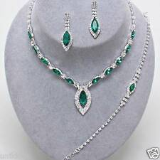 Bridal Prom Wedding Emerald Green Clear Crystal Silver Necklace Bracelet Set