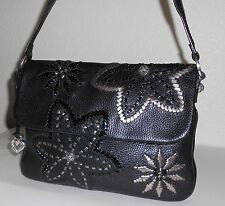 Brighton Black Pebble & Whip Stitched Patent & Silver Metallic Flower Purse Bag
