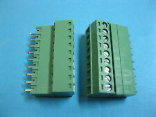 10 pcs 3.5mm 9 way/pin Screw Terminal Block Connector Green Pluggable Type