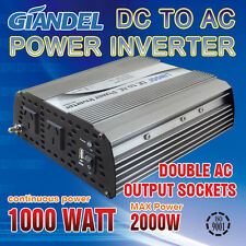 M Sine Wave Power Inverter 1000W(2000W Max)12V- 240VAC With Car Plug Cable1A USB