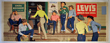 Original Vintage Levis Department Store Advertisng Poster 1950's General Store