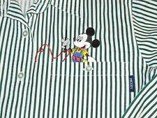 Vintage Disney Mickey Mouse Striped Button Up Pocket Blouse Sz M Cartoon Top