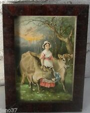 Antique Pretty Woman or Milkmaid with Cows Beautiful Victorian Framed Print