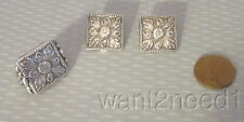 vtg TURKISH SILVER JEWELRY SET RING sz 6 & CLIP EARRINGS 23g