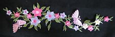 "10-1/4"" Trim Fringe Pink Purple Flower w/Butterfly Embroidery Appliqué Patch"