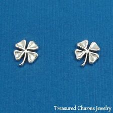 .925 Sterling Silver FOUR LEAF CLOVER Shamrock Irish Post Stud EARRINGS