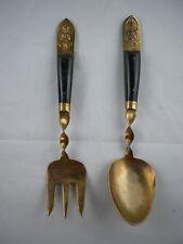 Vintage 1960's Brass Siam Serving Spoon Fork Plastic Bakelite Handle