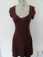 ATMOSPHERE - RED LACE CAP SLEEVED V- NECK,UNLINED MINI DRESS SIZE 10