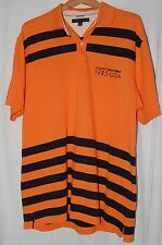 Vintage Tommy Hilfiger Mens Shirt 1985 USA Orange Black Striped Rugby XL Polo