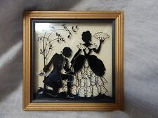Vintage Reverse Painted Silhouette Picture Proposal 4x4 Gold Frame
