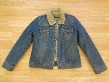 Vintage Gap Denim Trucker Jean Jacket Coat Women's Sz M Faux Fur Lining & Collar