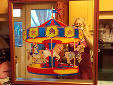Hand painted carousel mirror 2ft x 2ft square wooden frame with a red finish