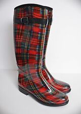 NY VIP R124 Red Plaid Lined Rain Snow Boots Women's Size 11 LNWOB