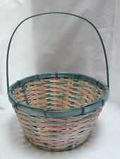"""1980s Multicolor Wicker Reed Round Basket w/Handle 13 x 7"""""""