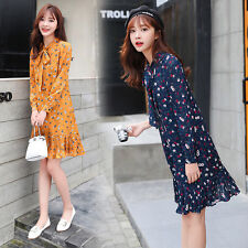 2017 Spring Fashion Women Korean Casual Long Sleeve Floral Loose Mermaid Dress