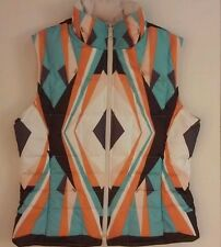 HILARY RADLEY Retro Reversible Ski Vest Diamond Size XS/S Orange Brown Mod Disco