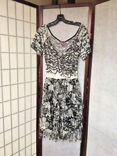 SAVE THE QUEEN ITALY WHITE BLACK SILK VISCOSE STRETCH DRESS UNIQUE SIZE M-L NWT