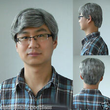 Old Men Wig Silver Gray Short Wig Curls Natural Hair Cosplay Father Man Full Wig