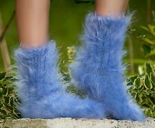 SUPERTANYA Hand knitted mohair socks fuzzy soft LIGHT BLUE leg warmers SALE