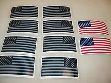 10 Gray R&L USA MILITARY FLAG Sticker Decal LOT 4 Silver Black Infrared American
