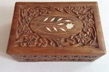 Vintage Carved Wooden Inlaid Floral Jewelry Box India Trinket Box Storage Hinged