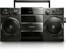 PHILIPS Bluetooth Boombox Lettore Musicale Retrò USB ALTOPARLANTE WIRELESS RADIO FM