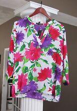 LAUREN RALPH LAUREN Fushia Violet Floral Print 3/4 Sleeve Blouse Size PM NWT $98
