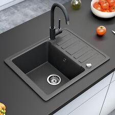 BERGSTROEM Évier de cuisine en granit encastré réversible 575x460 noir