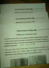 Denture liner / reliner instructions only