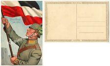 ORIG ak farblitho Landser bandera lucha victoria roble casco de acero Prim 1915