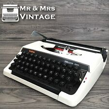 Serviced Brother Deluxe 220 White Typewriter working black Red ribbon RARE