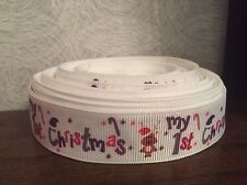 "1m 'My 1st Christmas' Pink Purple Baby First Grosgrain Ribbon, 7/8"" 22mm"
