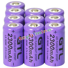 10x 3.7V CR123A 123A CR123 16340 2300mAh Purple GTL Rechargeable Battery Cell