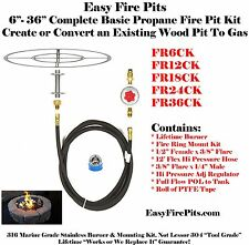 "FR6CK DIY 6"" Complete Basic LP/ Propane Fire Pit/ Bowl Kit Marine 316 Stainless"