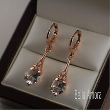 18K 18ct Rose Gold Plated Dangle Drop Earrings with SWA Crystals -UK -New 104