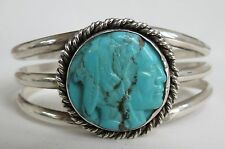 Wonderful carved turquoise Indian Head sterling silver Navajo cuff bracelet