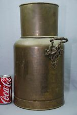 "VTG 17.25"" Hammered Brass Floor Vase Milk Can Umbrella Stand Nouveau handles"