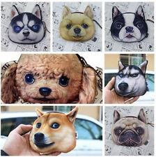 Cute Cat Dog Face Zipper Case Coin Women Purse Wallet Makeup Bag Pouch E73386