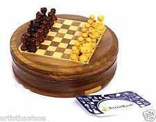 Artist Haat Antique Round Hand Carved  Sheesham Magnetic Mini Chess Game set