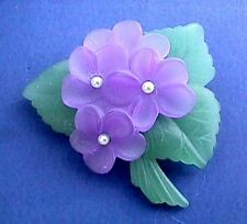 Buy3/Get1FREE~Avon Pin SWEET VIOLET Flower Bouquet FAUX PEARL Vtg Lucite BROOCH