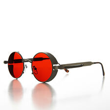 Round Gun Metal Steampunk Goggle Sunglass with Red Tinted Lenses- ORWELL