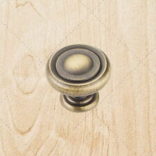 Cabinet Hardware Ring Knobs ku17 Brushed Antique Brass 1-1/4""