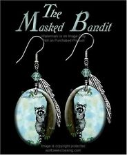 MASKED BANDIT RACCOON EARRINGS - COUNTRY WILDLIFE ART - JEWELRY GIFT SALE  #BLH*