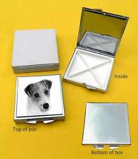 Jack Russell Dog Terrier Polished Metal Square Pill Box Gift