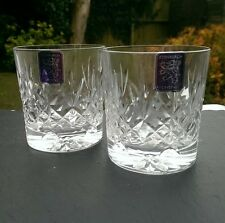 "Pair EDINBURGH Crystal - LOMOND Cut - Whisky Tumbler Glasses - 3"" 1st Quality"