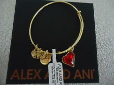 Alex and Ani RED HEART OF STRENGTH Shiny Gold Charm Bangle New W/Tag Card & Box