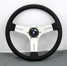 Nardi 330mm Competition Steering Wheel Black Leather / White Spokes Classic Horn