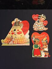 Lot of 3 Large Vintage Indian Themed 1940s Valentines Day Cards