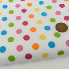 "FAB rainbow small spot white  fabric poly cotton  44"" wide *per metre"
